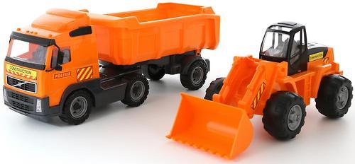 Автомобиль-самосвал Полесье Volvo с полуприцепом + трактор-погрузчик в коробке (6)