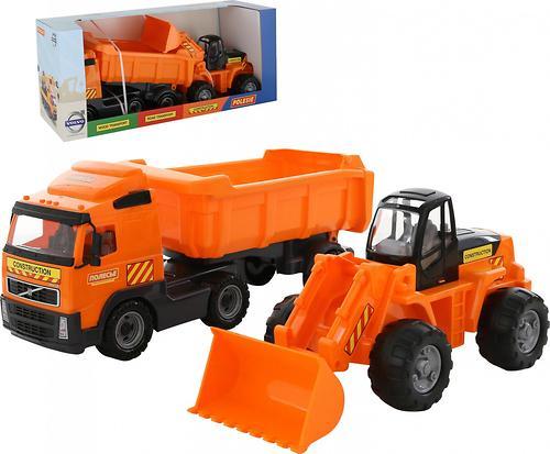 Автомобиль-самосвал Полесье Volvo с полуприцепом + трактор-погрузчик в коробке (5)