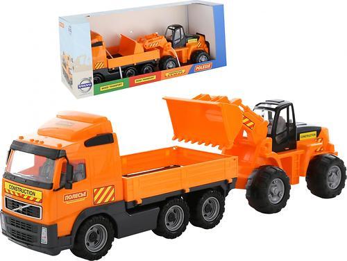 Автомобиль Полесье Volvo бортовой + трактор-погрузчик в коробке (4)