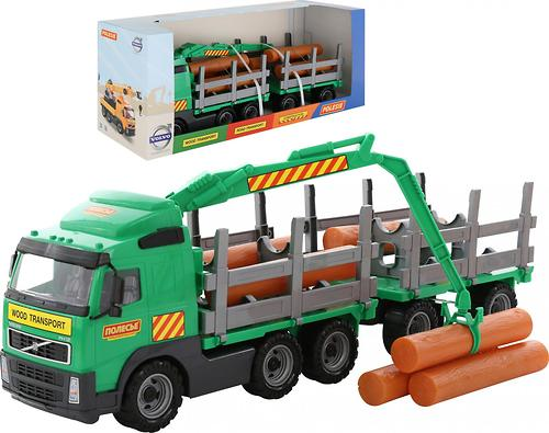 Автомобиль-лесовоз Полесье Volvo с прицепом в коробке (5)