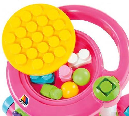 Каталка Полесье игровая с конструктором (13 элементов) в коробке (розовая) (9)