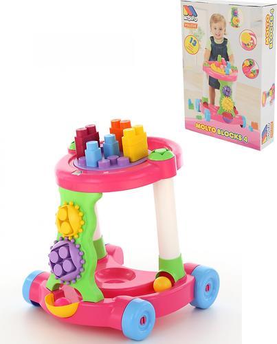 Каталка Полесье игровая с конструктором (13 элементов) в коробке (розовая) (7)
