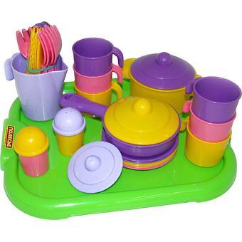 Набор Полесье детской посуды Настенька с подносом на 6 персон - Minim