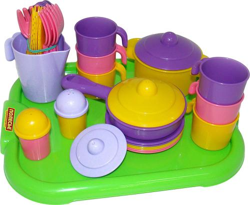 Набор Полесье детской посуды Настенька с подносом на 6 персон (1)