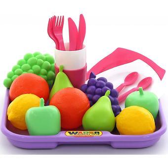 Набор продуктов с посудкой и подносом Полесье 21 элемент - Minim