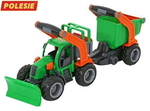 Трактор Полесье ГрипТрак снегоуборочный с полуприцепом (в коробке) (3)