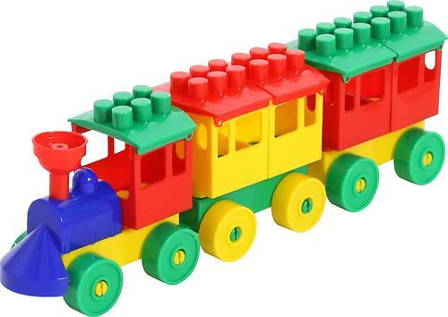 Конструктор Полесье Паровоз с двумя вагонами (1)