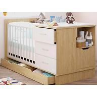 Кроватка-трансформер детская Polini Classic Дуб/Белый глянец