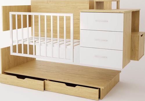 Кроватка-трансформер детская Polini Classic Дуб/Белый глянец (9)