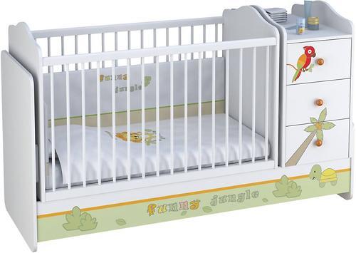 Кроватка-трансформер Polini Джунгли Белый-Серый (5)