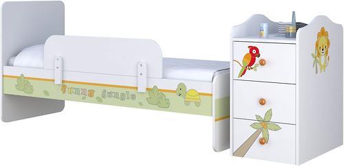 Кроватка-трансформер Polini Джунгли Белый-Серый (6)