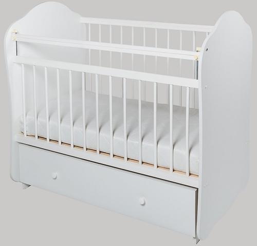 Кровать детская Сафаня №5 ЛДСП маятник Белая (1)