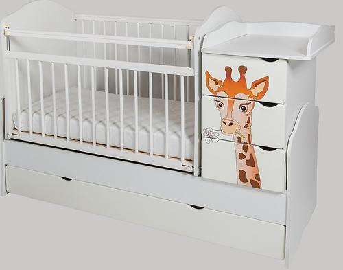 Кровать-трансформер Сафаня №2 МДФ жираф печать Белая (1)