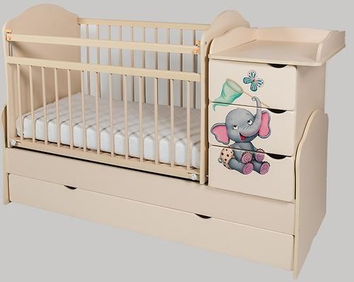Кровать-трансформер Сафаня №2 МДФ слоненок печать Ваниль (1)