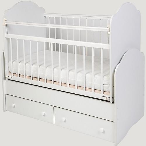 Кровать-трансформер детская Сафаня №4 с двумя ящиками и маятником Белая (1)