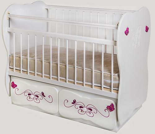 Кровать детская №5 Сафаня МДФ Бабочка маятник Белый шагрень (1)