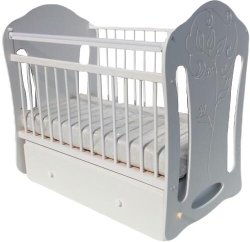 Кровать детская Сафаня №5 МДФ Ростомер колесо-качалка Белая (1)