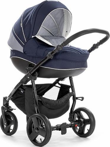 Коляска 2в1 Tutis Mimi Plus Premium темно-синий/белый/сетка (5)