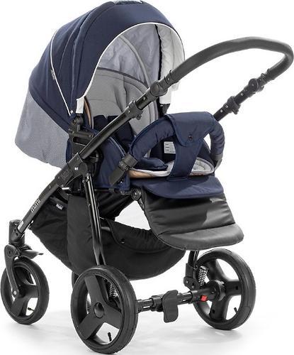 Коляска 2в1 Tutis Mimi Plus Premium темно-синий/белый/сетка (6)