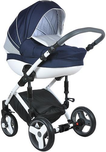 Коляска 2в1 Tutis Mimi Plus Premium темно-синий/белый/крап (7)