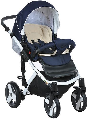 Коляска 2в1 Tutis Mimi Plus Premium темно-синий/белый/крап (9)