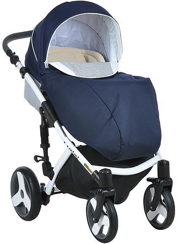 Коляска 2в1 Tutis Mimi Plus Premium темно-синий/белый/крап (10)