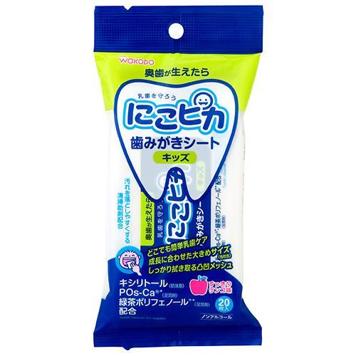Детские влажные салфетки для чистки зубов Wakodo Nico Pika со вкусом зеленого яблока 20 шт/уп (1)